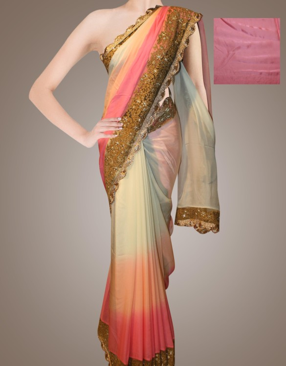 Half and Half Georgette saree