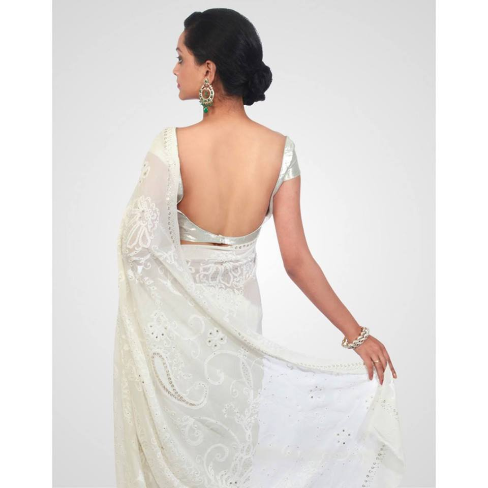 white saree backless