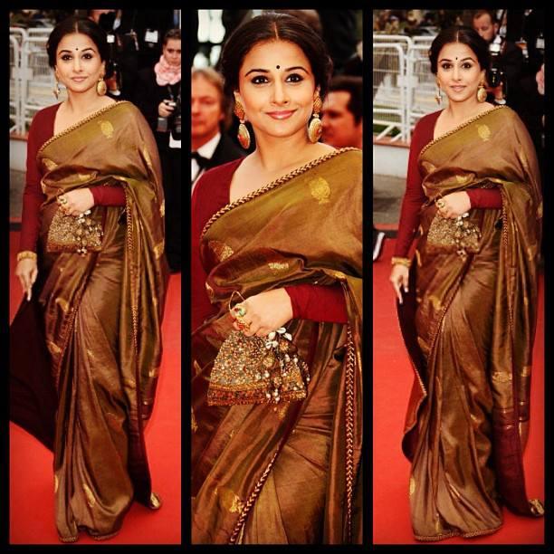 vidya in silk saree