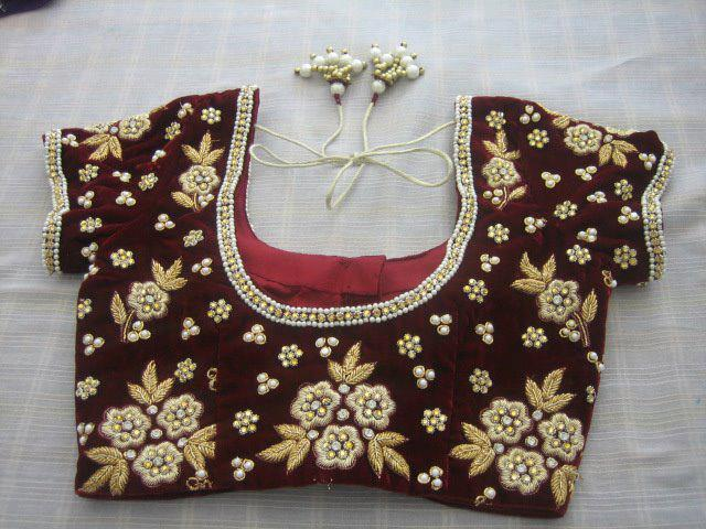 zardosi work blouse back design