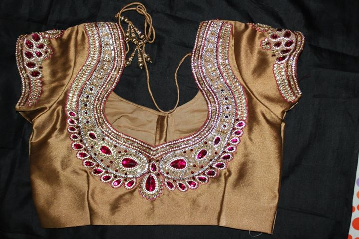 stone work blouse back neck designs
