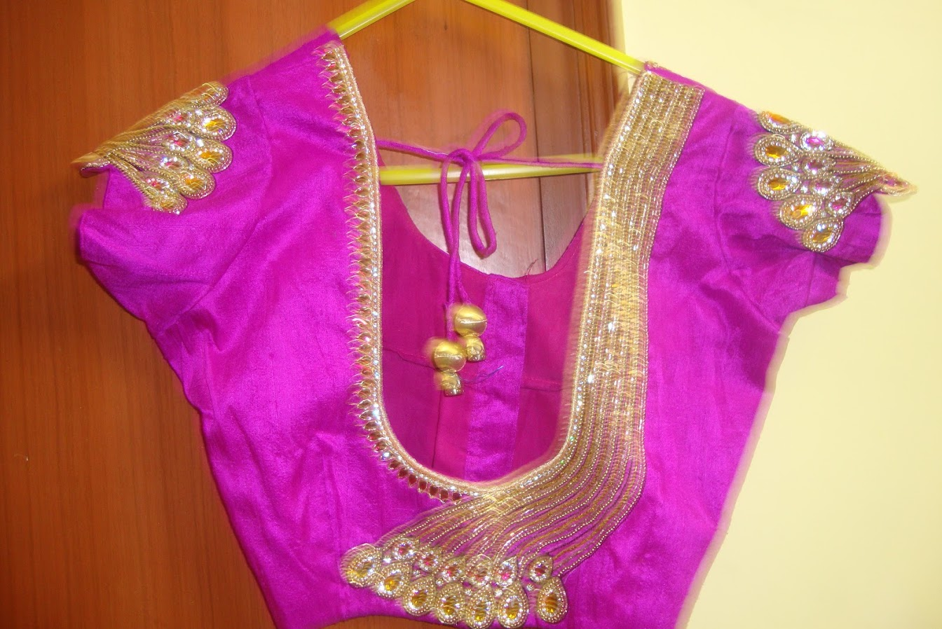 Zari Border Blouse Designs 59