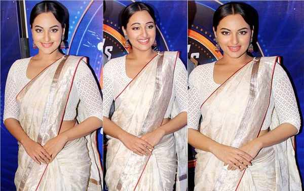 sonakshi in white saree