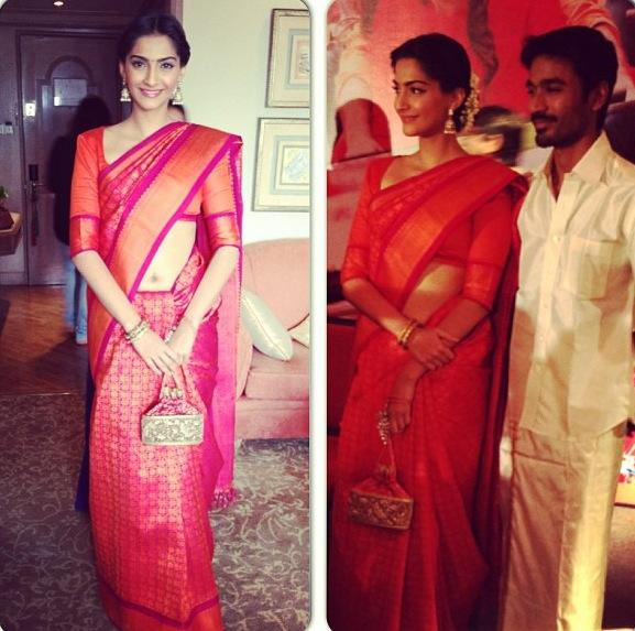 sonam kapoor in silk saree