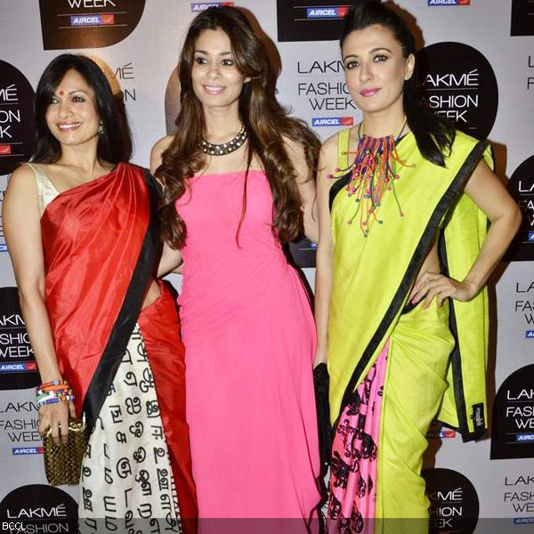 Girl-gang-Maria-Goretti-Mini-Mathur in designer saree