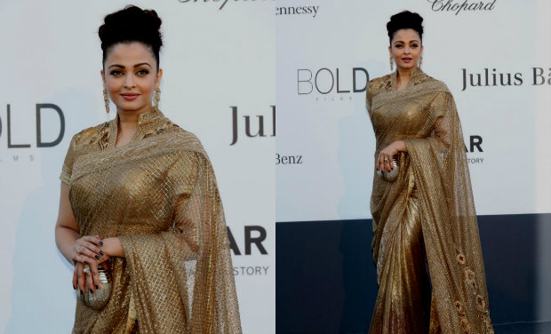 aish warya in designer saree