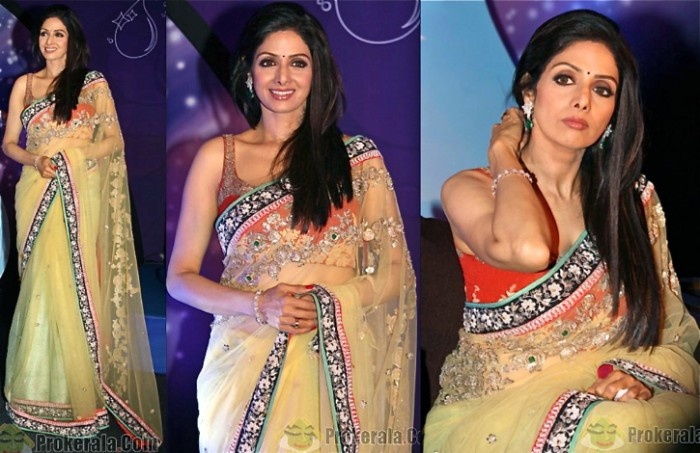 sridevi in designer saree