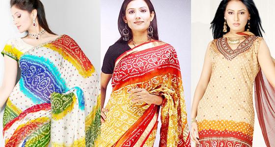 latest bandhani  sarees