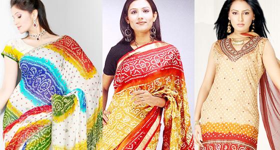 latest bandhani  sarees