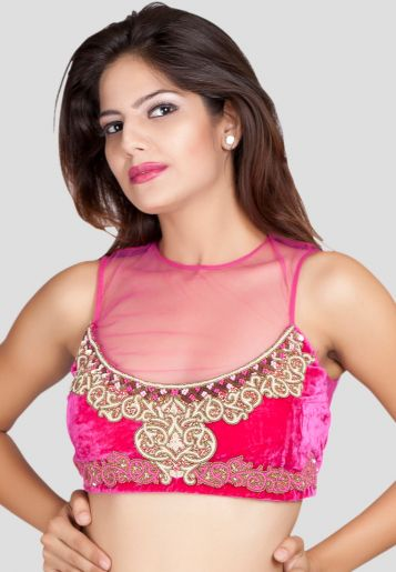 saree blouse front neck designs
