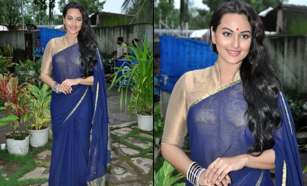 sonakshi in blue saree