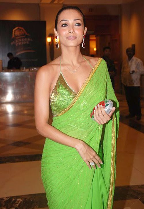mallaika_arora_green_saree_bikini_blouse