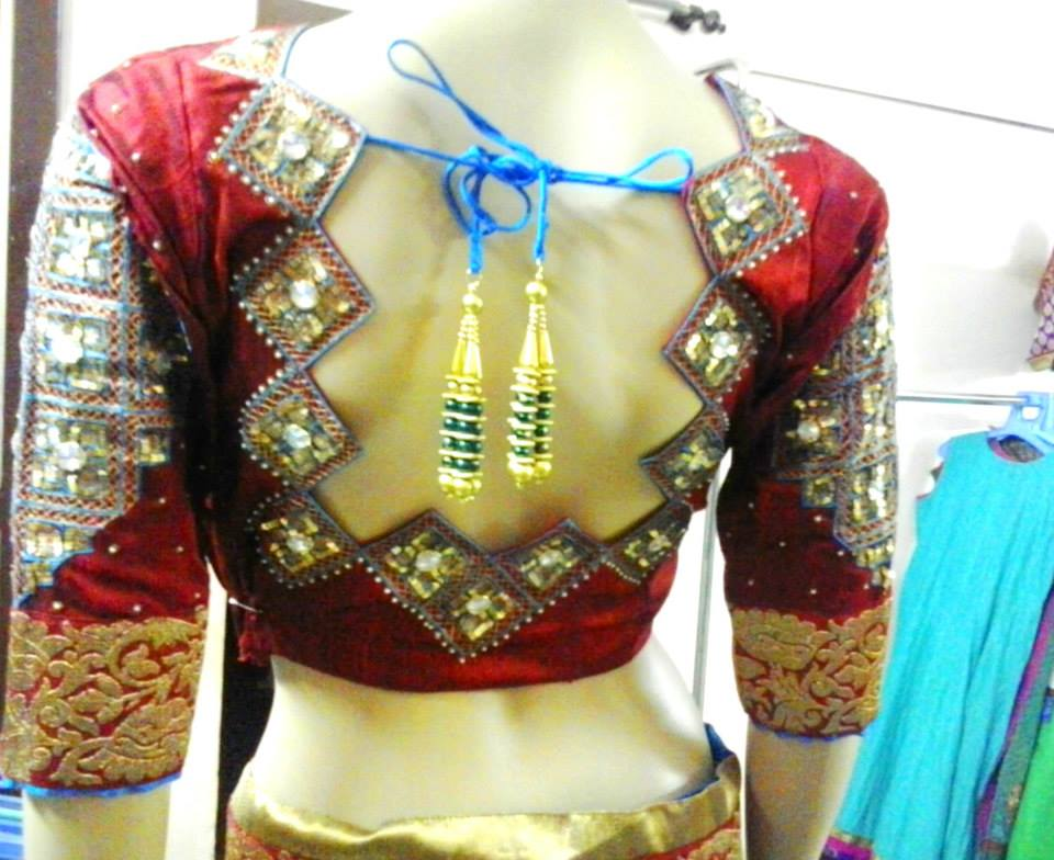 mirror work bridal blouse