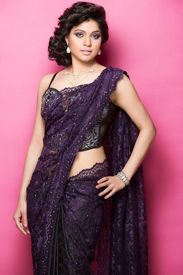 varsha-raghav-in netted saree