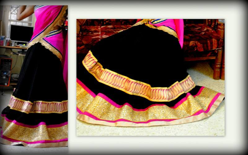 black and pink half saree