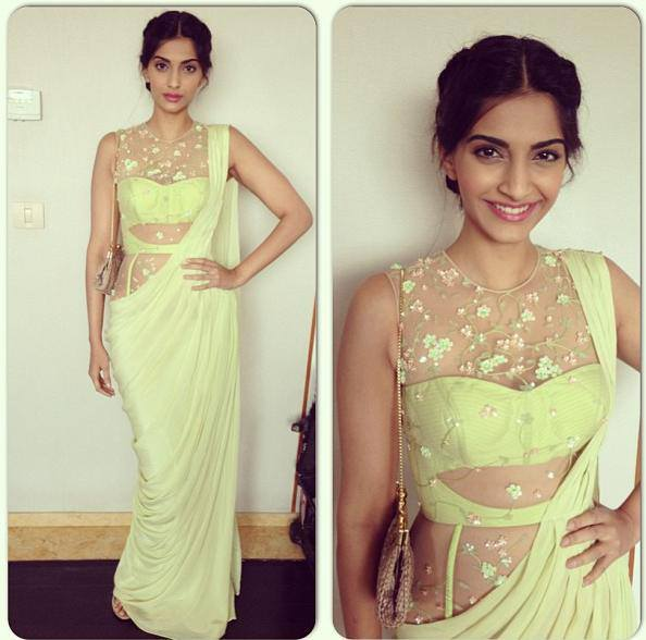 sonam kapoor in  designer green saree
