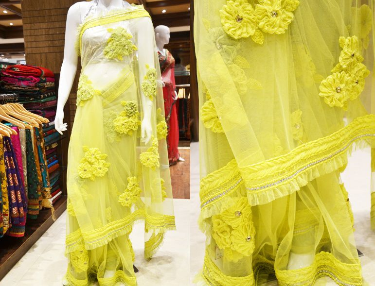 yellow netted sarees