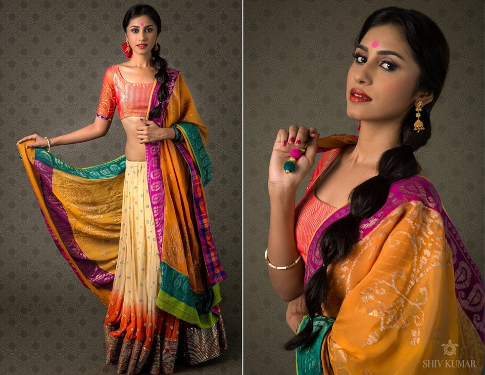 half saree patterns
