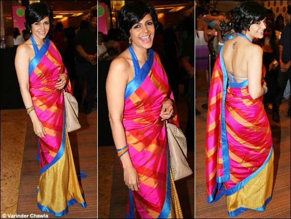 mandira bedi in designer silk saree