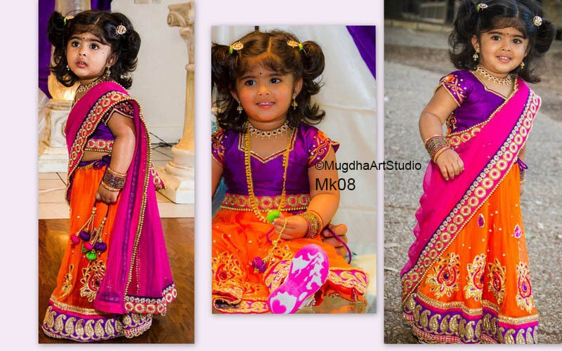 latest kids half sarees