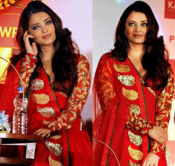 aishwarya in designer anarkali suit