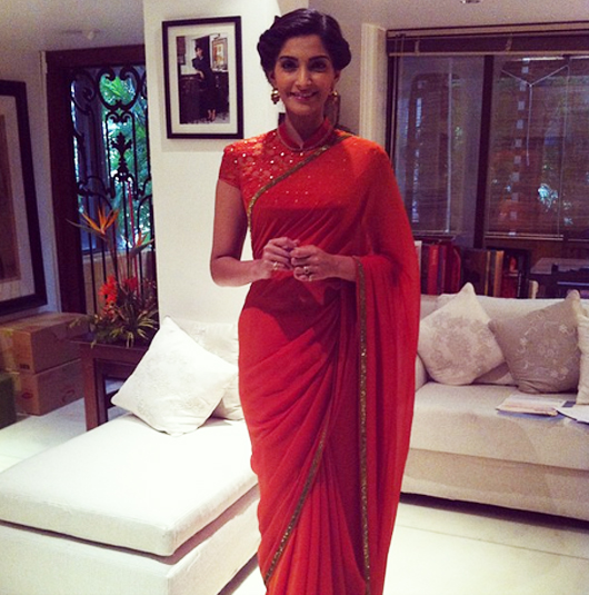 sonam in red saree