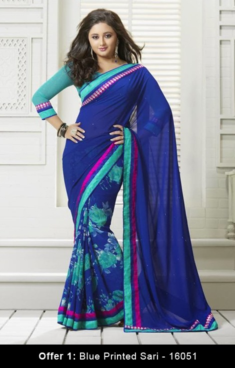 blue printed sarees
