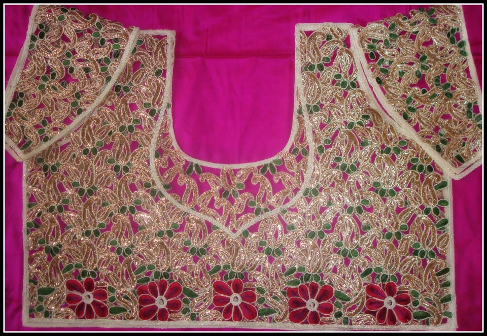 latest cut wrk blouses for silk sarees