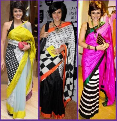 mandira bedi in saree masaba