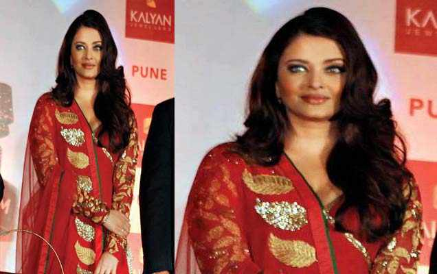 red color anarkali suit aish
