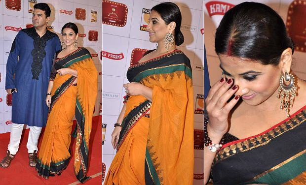 vidya-balan-in-orange saree