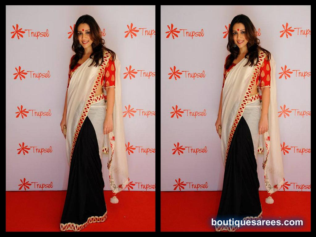 Amrita Puri in half and half saree
