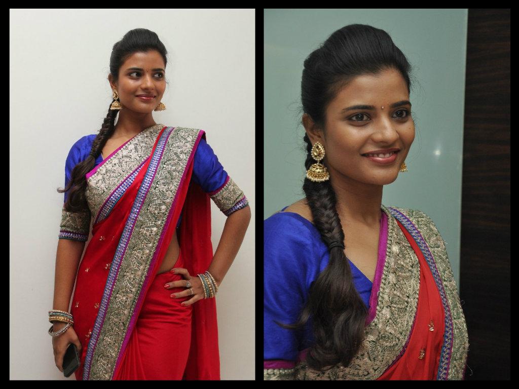 Iyshwarya Rajesh in red embroidery saree stills