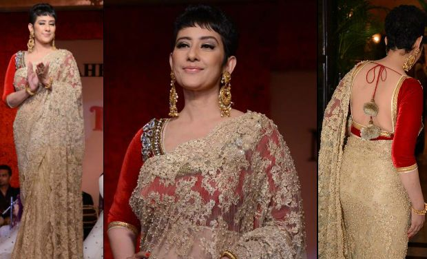 Manisha Koirala walks for the designer, Maheka Mirpuri.
