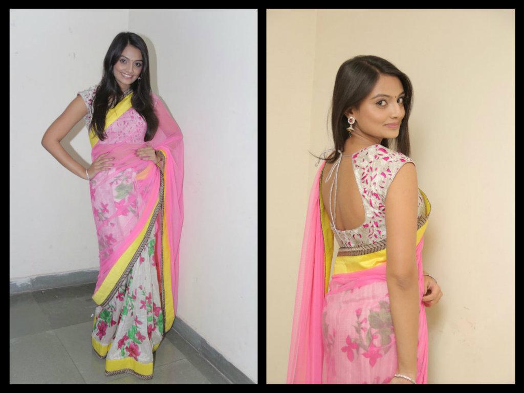 Nikitha-Narayan-in half and half  floral printed saree