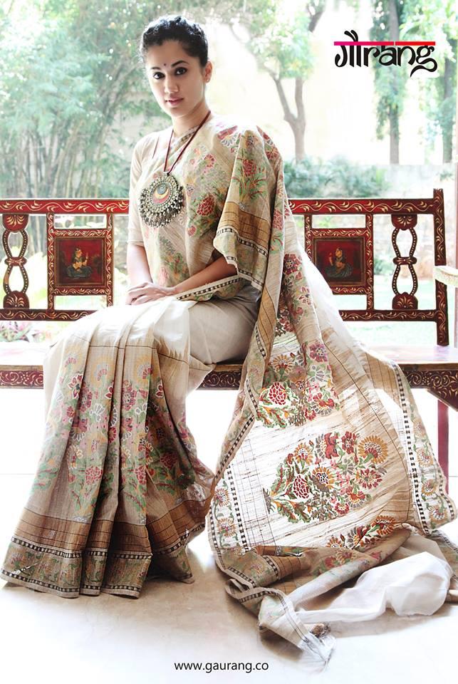 Taapsee in gurang shah saree