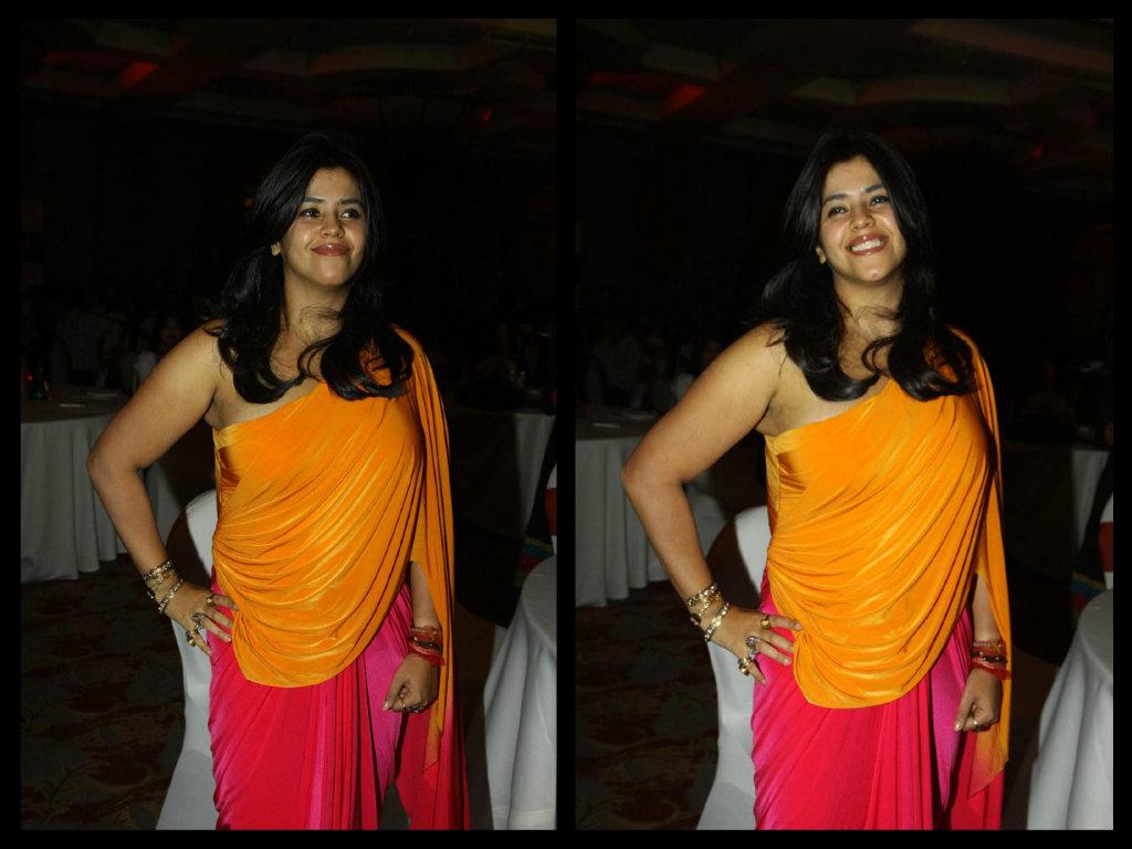 ekta in saree blouse fashion