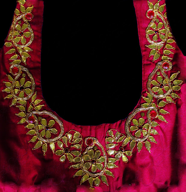 gota work embroidery blouse design