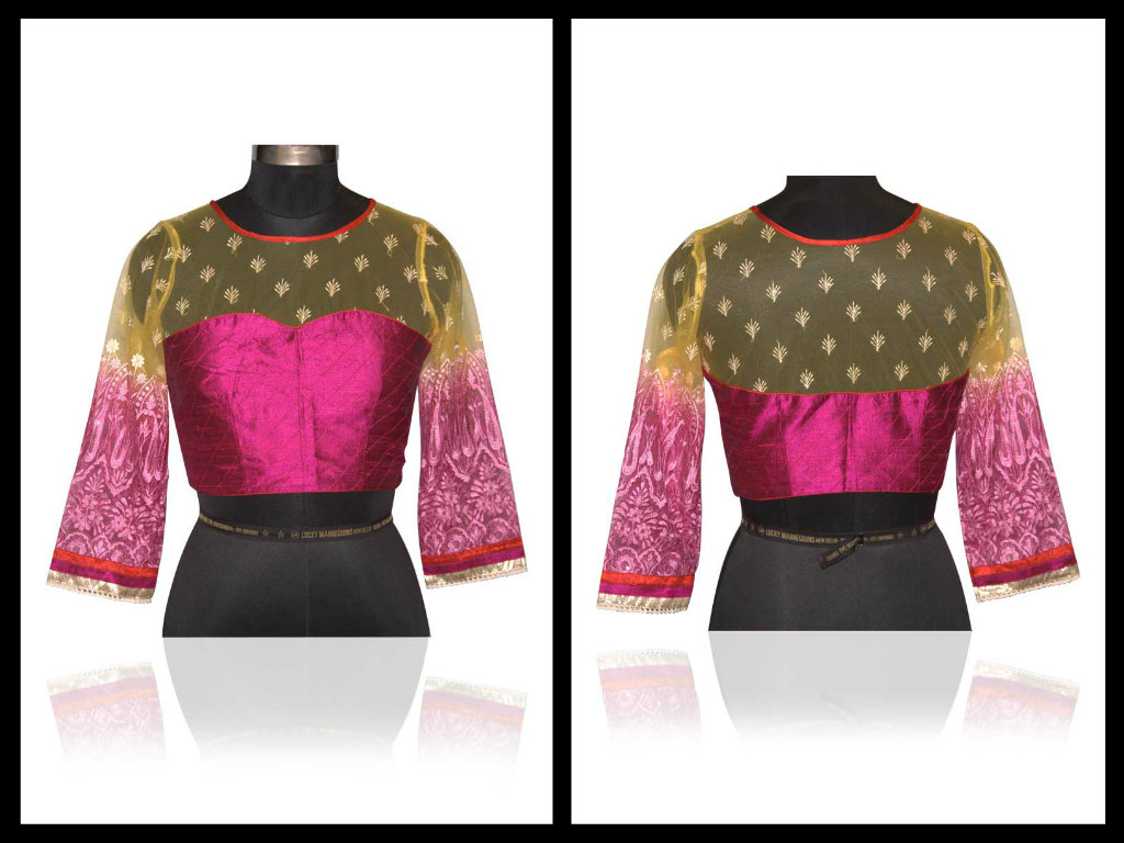 latest net saree blouse design