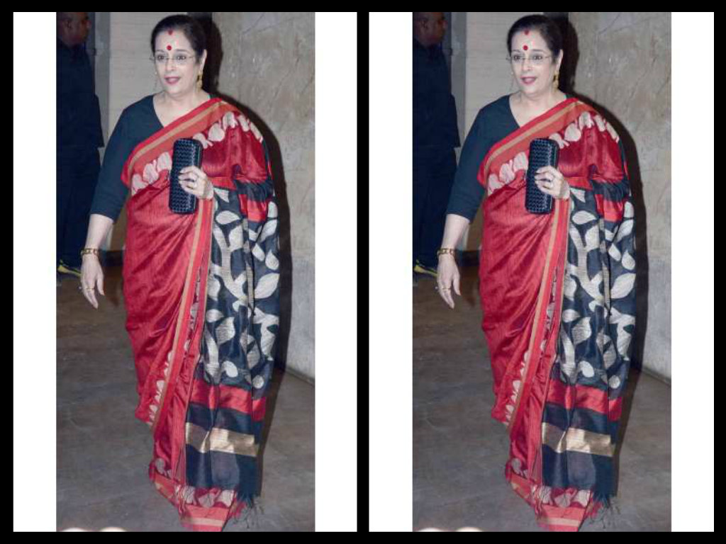 poonam sinha in red silk sari