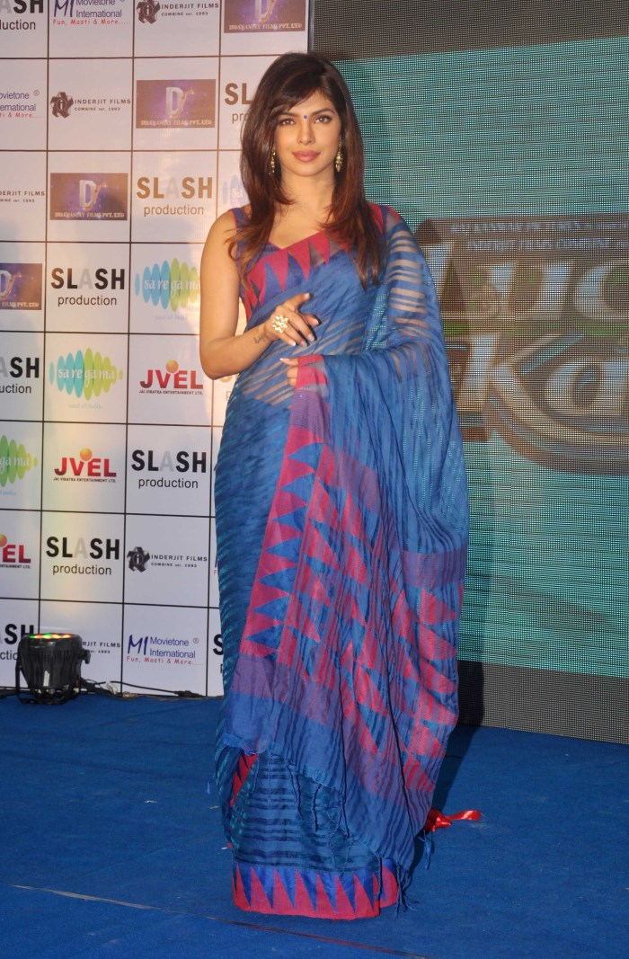 Priyanka Chopra Hot in Dark Moderate Blue Saree Images