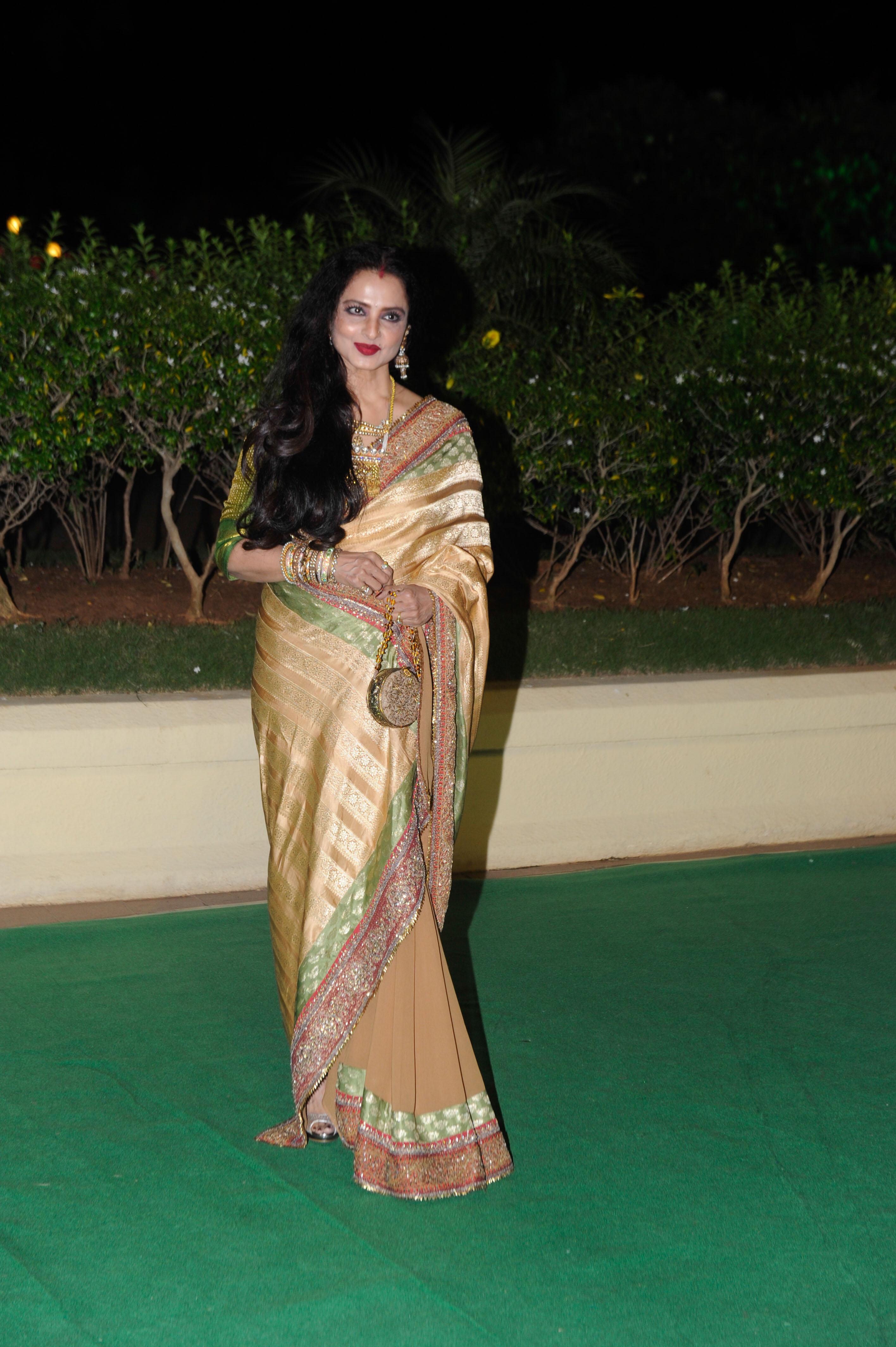 rekha in banaras half and half saree