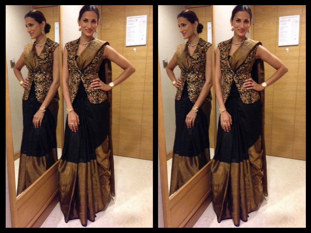 shilpa reddy in black silk saree blouse