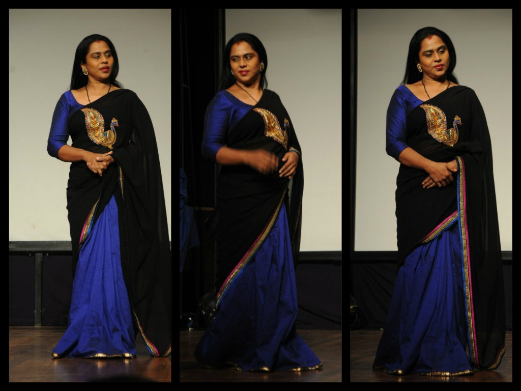 viji chandra shekar in half and half saree