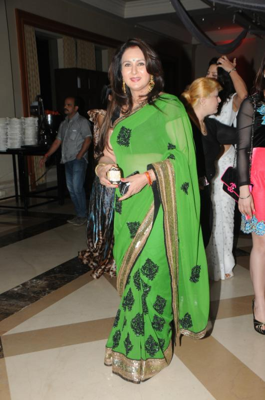 Poonam Dhillon in Green Embroidery work Saree