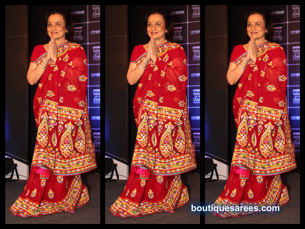 asha parekh in embroidery saree blouse