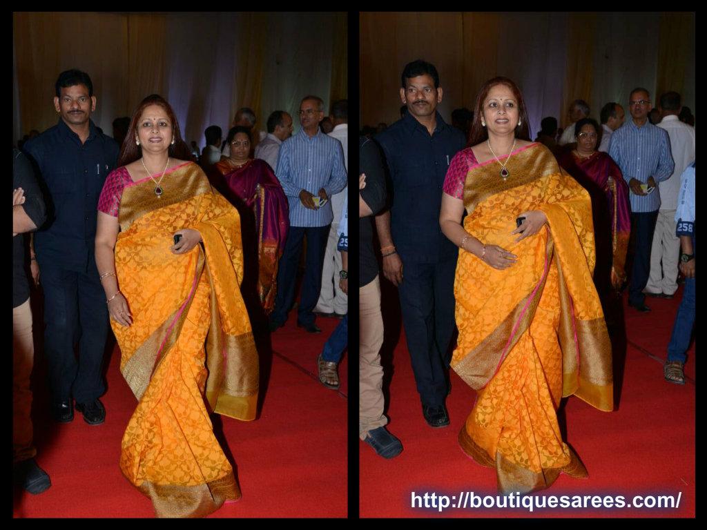 jayasudha in yellow silk saree