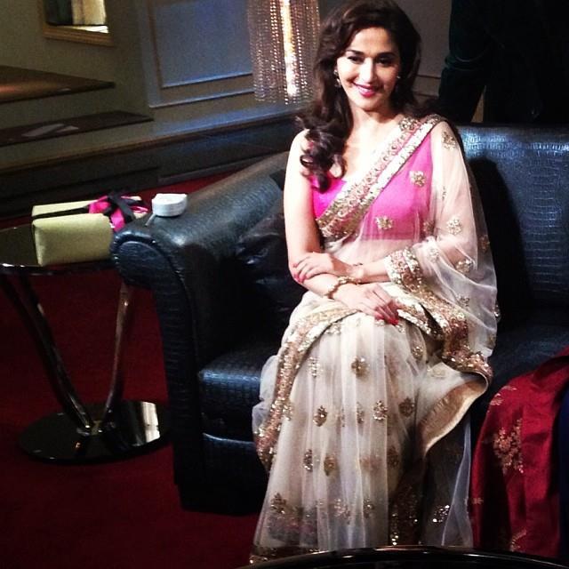 madhuri dixit in sabyasachi saree blouse