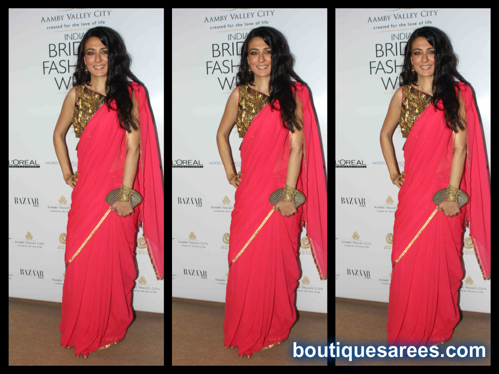mini mathur in red saree