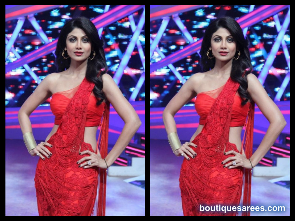 red saree blouse shilpa shetty